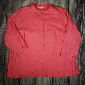 Eileen Fisher Woman 1x Irish linen blouse set